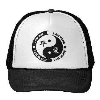 Yin Yang Brotherly Love Black White Peace Hat