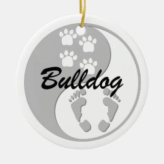yin yang bulldog Double-Sided ceramic round christmas ornament