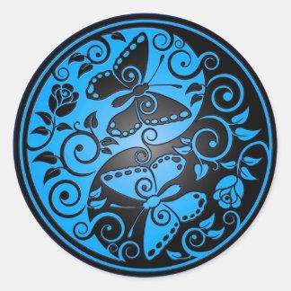 Yin Yang Butterflies, blue & black Classic Round Sticker