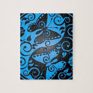 Yin Yang Butterflies, blue & black Jigsaw Puzzle