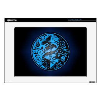 Yin Yang Butterflies, blue & black Laptop Skin