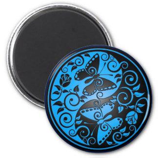 Yin Yang Butterflies, blue & black Magnet