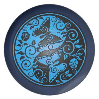 Yin Yang Butterflies, blue & black Melamine Plate
