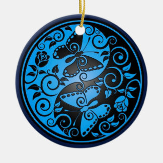 Yin Yang Butterflies blue black Ornaments