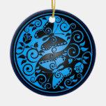 Yin Yang Butterflies, blue & black Ornaments
