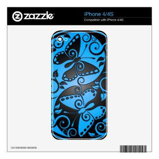 Yin Yang Butterflies, blue & black Skin For iPhone 4S