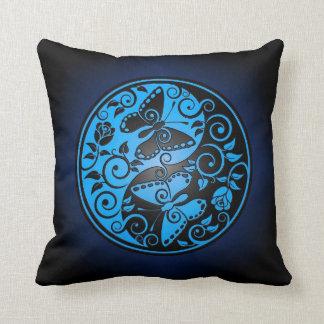 Yin Yang Butterflies, blue & black Throw Pillow