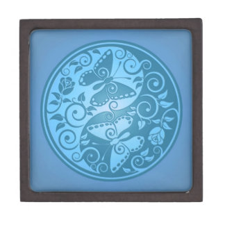 Yin Yang Butterflies, blue Gift Box