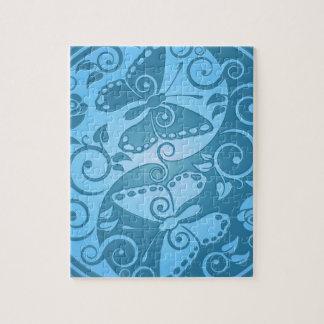 Yin Yang Butterflies, blue Jigsaw Puzzle