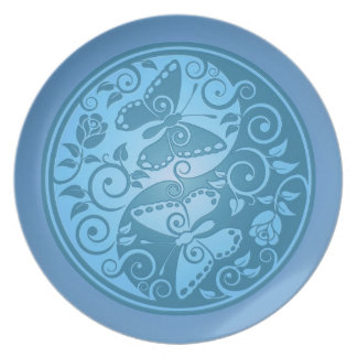 Yin Yang Butterflies, blue Melamine Plate