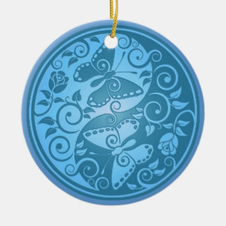 Yin Yang Butterflies, blue Double-Sided Ceramic Round Christmas Ornament