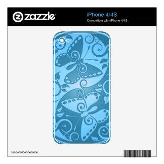 Yin Yang Butterflies, blue Decal For iPhone 4