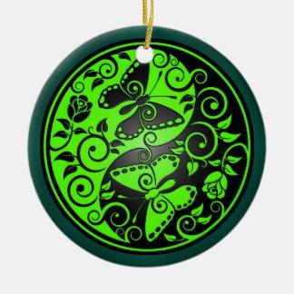 Yin Yang Butterflies, green & black Ceramic Ornament