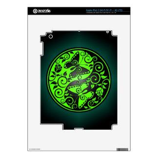 Yin Yang Butterflies, green & black Decals For iPad 3