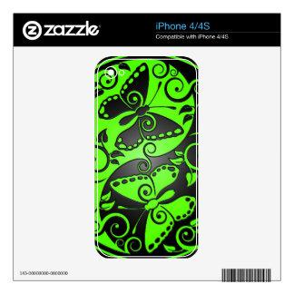 Yin Yang Butterflies, green & black iPhone 4S Skin
