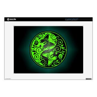 """Yin Yang Butterflies, green & black 15"""" Laptop Decal"""