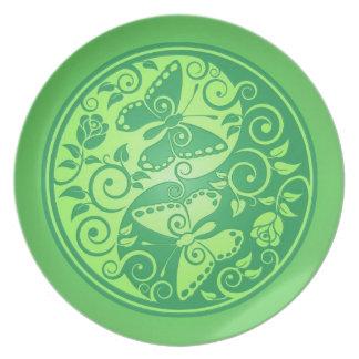Yin Yang Butterflies, green Melamine Plate