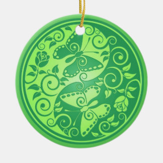 Yin Yang Butterflies, green Double-Sided Ceramic Round Christmas Ornament