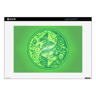 Yin Yang Butterflies, green Laptop Skin