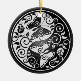 Yin Yang Butterflies Double-Sided Ceramic Round Christmas Ornament