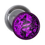 Yin Yang Butterflies, purple & black Button
