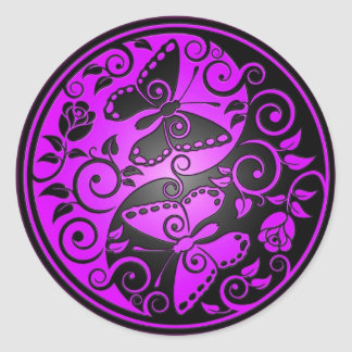 Yin Yang Butterflies, purple & black Classic Round Sticker