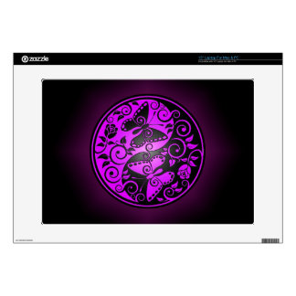 Yin Yang Butterflies, purple & black Laptop Decals