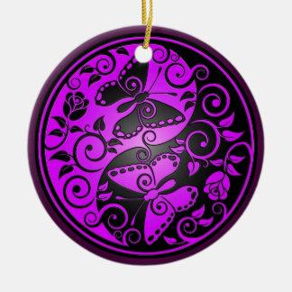 Yin Yang Butterflies purple black Christmas Tree Ornaments