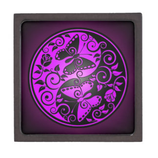 Yin Yang Butterflies, purple & black Premium Jewelry Boxes
