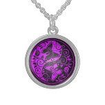 Yin Yang Butterflies, purple & black Round Pendant Necklace