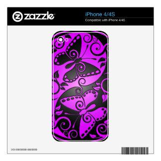Yin Yang Butterflies, purple & black iPhone 4 Skins