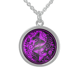 Yin Yang Butterflies, purple & black Sterling Silver Necklace
