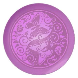 Yin Yang Butterflies, purple Dinner Plate