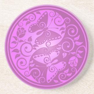 Yin Yang Butterflies, purple Drink Coaster