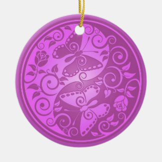 Yin Yang Butterflies, purple Double-Sided Ceramic Round Christmas Ornament