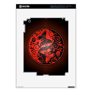 Yin Yang Butterflies, red & black iPad 3 Skin