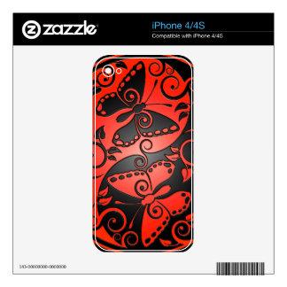 Yin Yang Butterflies, red & black Skin For iPhone 4