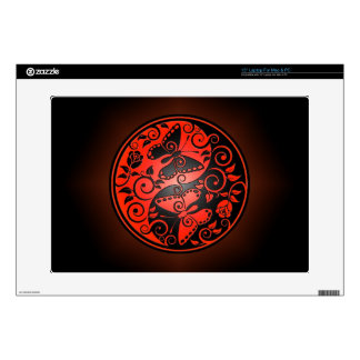 """Yin Yang Butterflies, red & black Decals For 15"""" Laptops"""
