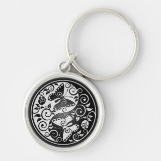 Yin Yang Butterflies Silver-Colored Round Keychain