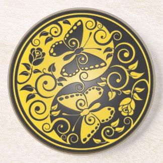 Yin Yang Butterflies, yellow & black Drink Coaster