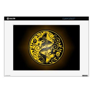 """Yin Yang Butterflies, yellow & black 15"""" Laptop Decals"""