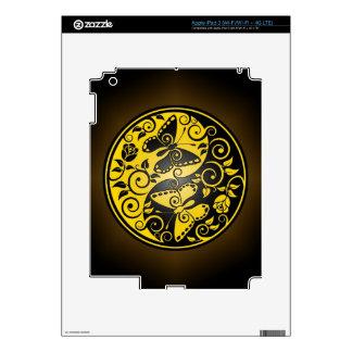 Yin Yang Butterflies, yellow & black Skin For iPad 3