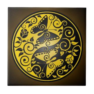 Yin Yang Butterflies, yellow & black Tile