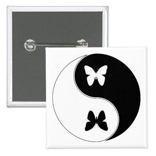 Yin Yang Butterfly Button