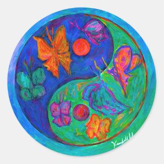 Yin Yang Butterfly Classic Round Sticker