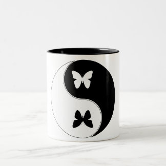 Yin Yang Butterfly Two-Tone Coffee Mug