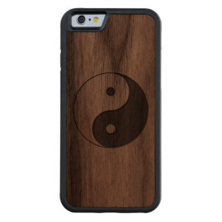 Yin Yang Carved Walnut iPhone 6 Bumper Case