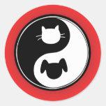 Yin Yang Cat Dog Classic Round Sticker
