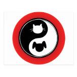 Yin Yang Cat Dog Post Card