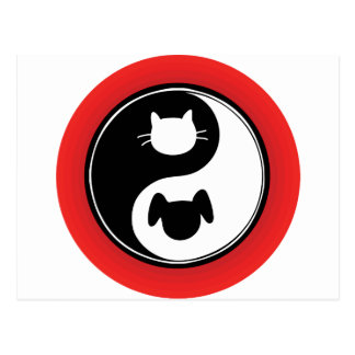 Yin Yang Cat Dog Postcard